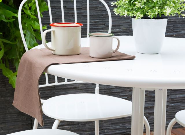 Painted garden table and cups