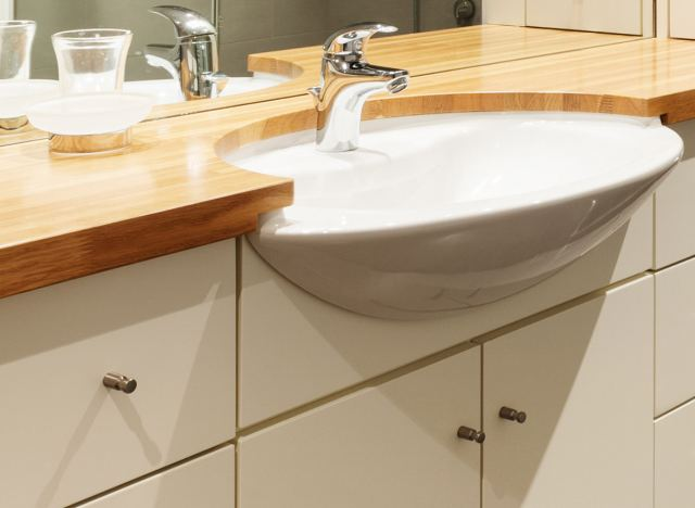 Polished wood and a sink
